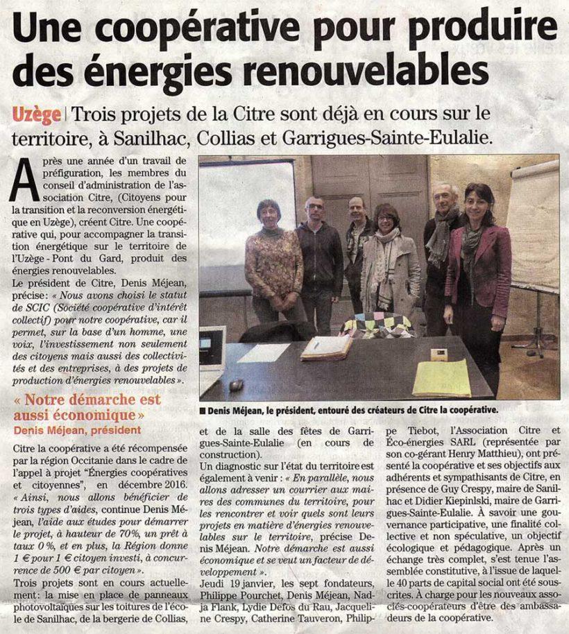 Une coopérative pour produire des énergies renouvelables