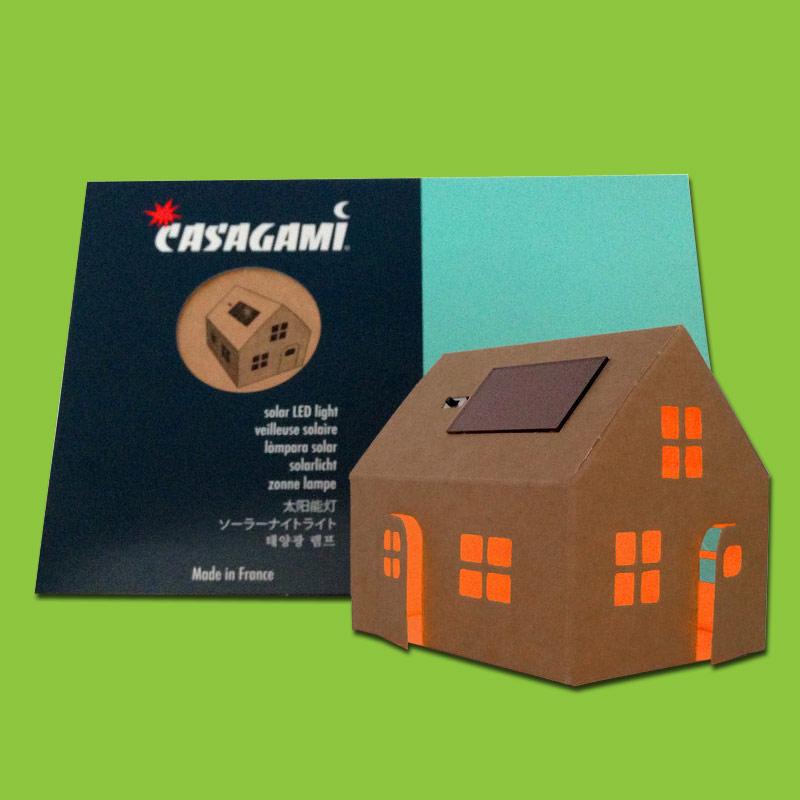 veilleuse petite maison solaire en carton kraft avec pochette citre. Black Bedroom Furniture Sets. Home Design Ideas