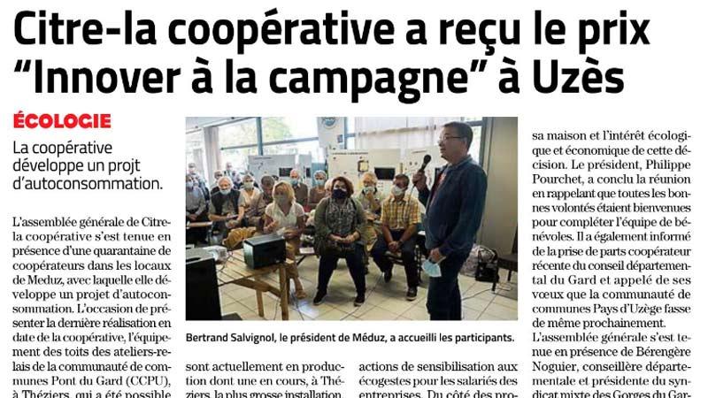 Citre-la coopérative a reçu le prix «Innover à la campagne» à Uzès